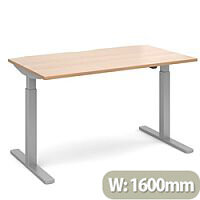 Elev8 Mono Height Adjustable Rectangular Sit-Stand Office Desk 1600mmx800mm With Silver Frame & Beech Top