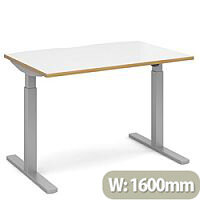 Elev8 Mono Height Adjustable Rectangular Sit-Stand Office Desk 1600mmx800mm With Silver Frame & White Top With Oak Edge