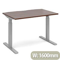 Elev8 Mono Height Adjustable Rectangular Sit-Stand Office Desk 1600mmx800mm With Silver Frame & Walnut Top