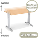 Flex R Height-Adjustable Rectangular Desk 1200x800x640-840mm Beech