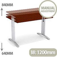 Flex R Height-Adjustable Rectangular Desk 1200x800x640-840mm Walnut