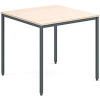 Rectangular flexi table with graphite frame 800mm x 800mm - maple