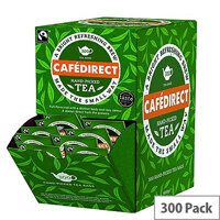 Cafe Direct Fairtrade Tea Dispenser With Tag and Enveloped Tea Bags  Pack of 300 FTB0008