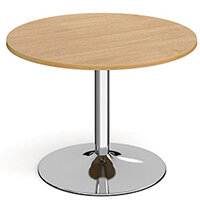 Genoa Circular Oak Dining Table with Chrome Trumpet Base 1000mm