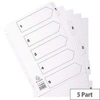 Guildall Mylar Index 1-5 A4 White MWD1-5Z