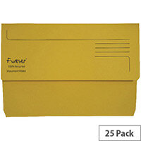 Guildhall Forever Bright Yellow Document Wallet Pack of 25 211/5003