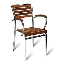Monaco Solid Teak Slatted Outdoor Stacking Arm Chair With Aluminium Frame