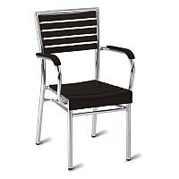 Monaco Black Slatted Outdoor Stacking Arm Chair With Aluminium Frame