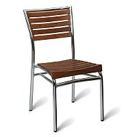 Monaco Solid Teak Slatted Outdoor Stacking Chair With Aluminium Frame