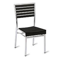 Monaco Black Slatted Outdoor Stacking Chair With Aluminium Frame