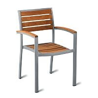 Geneva Solid Teak Outdoor Stacking Arm Chair With Aluminium Frame