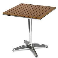 Monaco Square Outdoor Table Slatted Teak Wood Effect Top and Aluminium Base