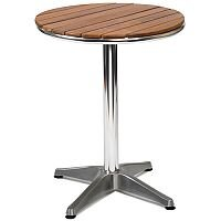 Monaco Round Solid Teak Slatted Outdoor Table With Aluminium Base