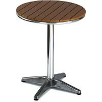 Round Outdoor Patio Table Slatted Teak Wood Effect Top & Aluminium Base