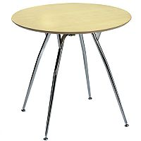 Mile Small Round Table 800mm Diameter Maple Top & Chrome Legs
