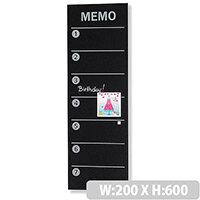 Franken Glass Magnetic Memo Board 200x600mm Black GTM206010