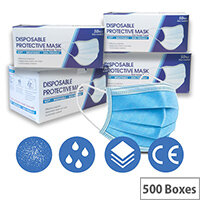 Disposable 3 Ply Protective Mask With Ear Loop 500 Boxes of 50 Masks Ref:HA4814001