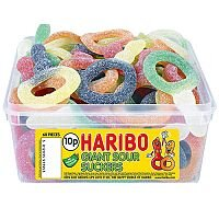 Haribo Giant Sour Suckers Tub Jelly Sweets (Pack of 1) 13444