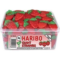Haribo Giant Strawberry Drum Jelly Sweets (Pack of 1) 9547