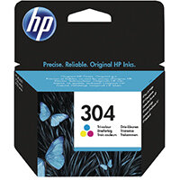 HP 304 Ink Cartridge Tricolour – Tri-Colour Includes Cyan, Magenta and Yellow, 2ml Capacity, Approx 100 Page Capacity, Eco-Friendly & fade and Water Resistant (N9K05AE)