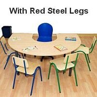 Horse Shoe Primary School Table 1200x1800x600mm Red  #PSD