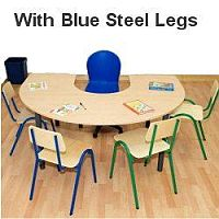 Horse Shoe Primary School Table 1200x1800x650mm Blue #PSD
