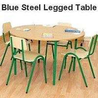 Round Primary School Classroom Table Beech/Blue 1200x650mm  #PSD