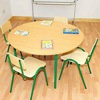 Round Primary School Classroom Table Beech/Green 1200x700mm #PSD