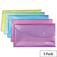 Rapesco Popper Wallet A5 Pack of 5 Assorted 0689
