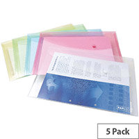 Rapesco Popper Wallet Foolscap Pastel Assorted Pack of 5