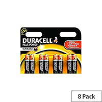 Duracell Multipurpose Battery AA Alkaline 1.5 V DC 8 Pack