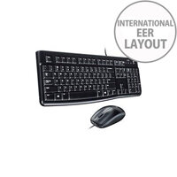 Logitech Desktop MK120 Keyboard & Mouse USB 2.0 Cable Dutch Black USB 2.0 Cable Optical 1000 dpi Scroll Wheel QWERTY Black Symmetrical Compatible with Computer