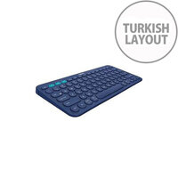 Logitech K380 Keyboard Wireless Connectivity Bluetooth Blue Turkish Compatible with Computer Tablet Smartphone Smart TV Home Back Menu Easy-Switch On/Off Switch App Switch Hot Keys QWERTY Keys Layout