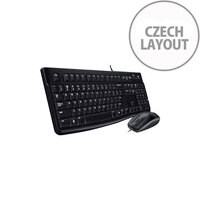 Logitech Keyboard & Mouse USB Cable Czech Black USB Cable Optical 1000 dpi 3 Button Scroll Wheel Black Symmetrical Compatible with Computer Linux PC
