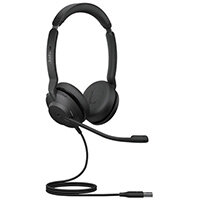 Jabra Evolve2 30, MS Stereo, Headset, Head-band, Office/Call center, Black, Binaural, Answer/end call, Mute, Play/Pause, Track <, Track >, Volume +, Volume -