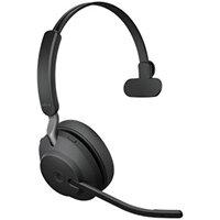 Jabra Evolve2 65, MS Mono, Headset, Head-band, Office/Call center, Black, Monaural, Bluetooth pairing, Multi-key, Play/Pause, Track <, Track >, Volume +, Volume -