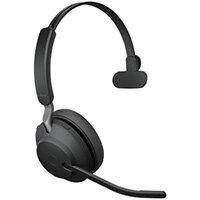 Jabra Evolve2 65, UC Mono, Headset, Head-band, Office/Call center, Black, Monaural, Bluetooth pairing, Multi-key, Play/Pause, Track <, Track >, Volume +, Volume -