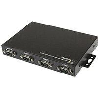 StarTech.com 4 Port Wall Mountable USB to Serial Adapter Hub with COM Retention, USB 2.0 Type-B, Serial, Black, Steel, CE, FCC, REACH, RoHS, TAA, 9 - 36 V