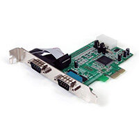 StarTech.com 2 Port Native PCI Express RS232 Serial Adapter Card with 16550 UART, PCIe, Serial, PCIe 1.0, RS-232, Green, CE, FCC, REACH