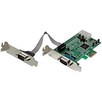 StarTech.com 2 Port Low Profile Native RS232 PCI Express Serial Card with 16550 UART, PCIe, Serial, PCIe 1.1, RS-232, Green, ASIX - MCS9922CV-AA