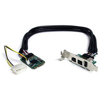 StarTech.com 3 Port 2b 1a 1394 Mini PCI Express FireWire Card Adapter, PCIe, IEEE 1394/Firewire, Full-height / Low-profile, Black, Stainless steel, CE, FCC, LSI/Agere - FW643