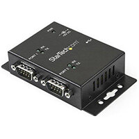 StarTech.com 2 Port Industrial Wall Mountable USB to Serial Adapter Hub with DIN Rail Clips, USB 2.0 Type-B, Serial, Black, Steel, Activity, CE, FCC, TAA, REACH