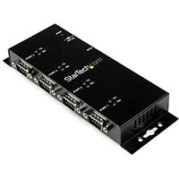 StarTech.com 4 Port USB to DB9 RS232 Serial Adapter Hub – Industrial DIN Rail and Wall Mountable, USB 2.0 Type-B, Serial, Black, Steel, Activity, CE, FCC, RoHS