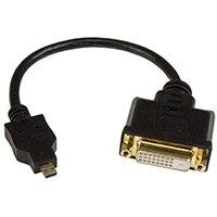 StarTech.com Micro HDMI to DVI-D adapter M/F - 8in, 0.2 m, Micro-HDMI, DVI-D, Male, Female, Gold