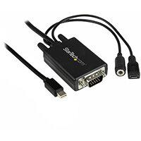 StarTech.com Mini DisplayPort to VGA Adapter Cable with Audio - 6ft (2m), 2 m, Mini DisplayPort, VGA (D-Sub) + 3.5mm, Male, Male, Straight