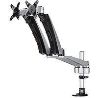 "StarTech.com Desk-Mount Dual Monitor Arm - Full Motion Articulating - Premium, Clamp, 18 kg, 76.2 cm (30""), 100 x 100 mm, Height adjustment, Black, Silver"