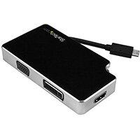 StarTech.com Travel A/V Adapter: 3-in-1 USB-C to VGA, DVI or HDMI - 4K, USB Type-C, DVI output, HDMI output, VGA (D-Sub) output, 3840 x 2160 pixels