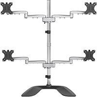 "StarTech.com Desktop Quad Monitor Stand - Ergonomic VESA 4 Monitor Arm (2x2) up to 32"" - Free Standing Articulating Universal Pole Mount - Height Adjustable/Tilt/Swivel/Rotate - Silver, Freestanding, 8 kg, 81.3 cm (32""), 100 x 100 mm, Height adjustment, B"