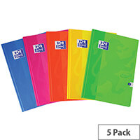 Oxford Touch Hardback Casebound Notebook A4 Assorted Pack of 5 400090141