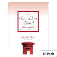 Basildon Bond White Writing Pad 178 X 229mm 40 Sheets Pack of 10 100103860